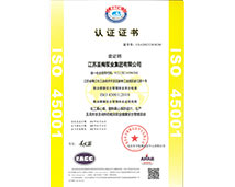 OHSAS18001职业jian康安全管理体系认证证书